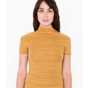 American Apparel Ponte Mock Neck Short Sleeve Top